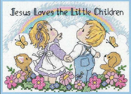 Esquema de punto de cruz para descargar GRATIS en PDF, imprimir y bordar dibujo infantil con niños