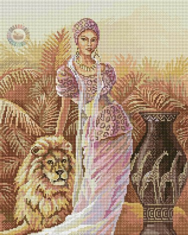 Esquema de punto de cruz para descargar GRATIS en PDF, imprimir y bordar mujer con león