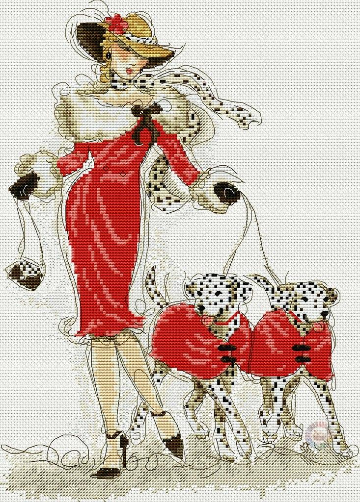 Gráfico de punto de cruz para descargar GRATIS en PDF, imprimir y bordar dama con perros dálmatas