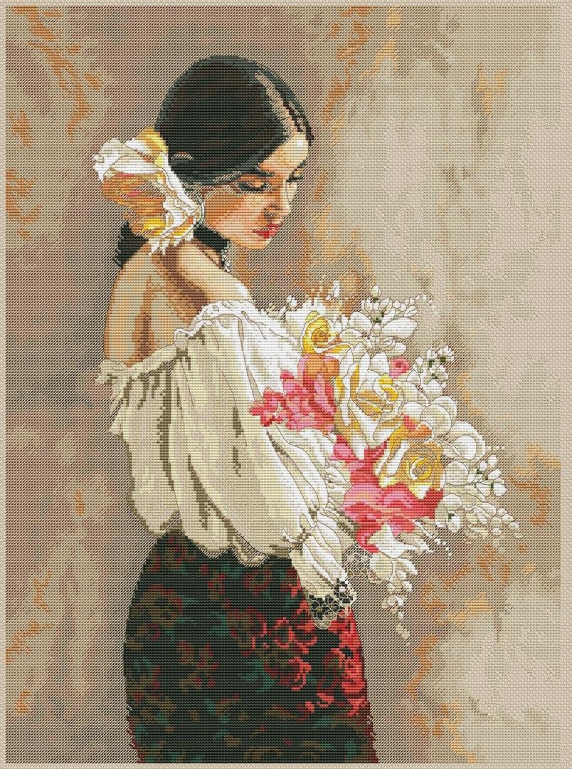 Gráfico de punto de cruz GRATIS al comprar la tela y los hilos para su bordado. Dibujo de dama con flores.