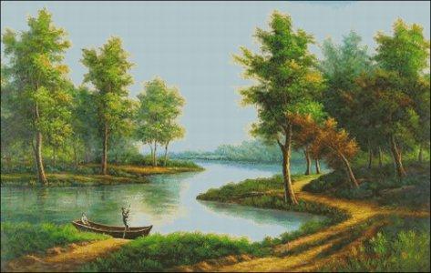 Gráfico de punto de cruz para descargar GRATIS en PDF, imprimir y bordar paisaje con árboles y río