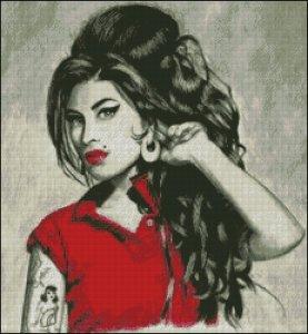 Patrón de punto de cruz para descargar GRATIS en PDF, imprimir y bordar la cantante Amy Winehouse