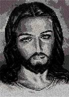 Esquema de punto de cruz para descargar gratis en pdf, imprimir y bordar rostro de Jesús Cristo