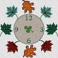 Gráfico de punto de cruz para descargar GRATIS en PDF, imprimir y bordar reloj de hojas