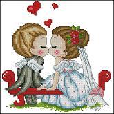 Gráfico de punto de cruz para descargar en PDF, imprimir y bordar pareja de novios como recuerdo de boda